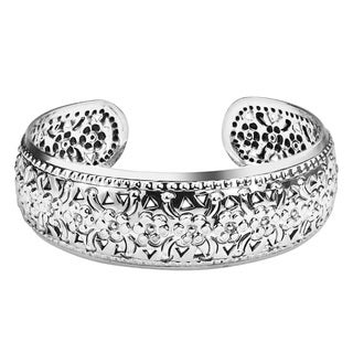 Handmade Sweet Bloom Floral Carving Thai Yao Tribe Sterling Silver Cuff (Thailand)