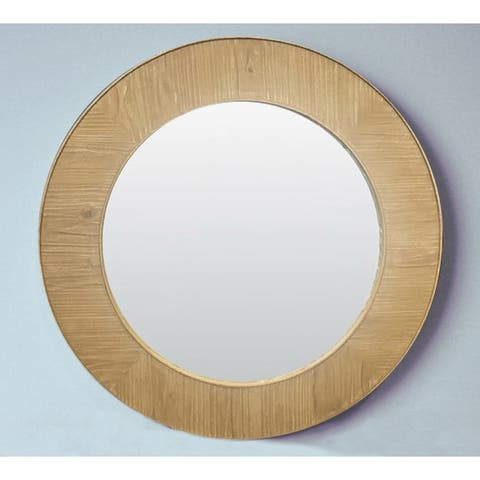 Rustic Style 27.5 inch Round Wall Mirror - Brown - A/N