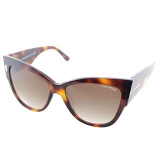 Tom Ford Womens Anoushka TF 371 53F Havana Plastic Cat-Eye Sunglasses