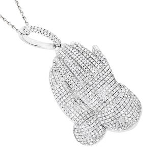Luxurman 10k White Gold 1 1/2ct TDW Diamond Praying Hands Pendant (H-I, SI1-SI2)