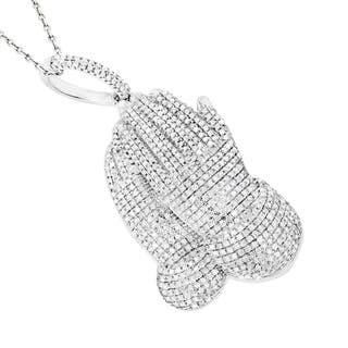 Luxurman 10k White Gold 1 1/2ct TDW Diamond Praying Hands Pendant|https://ak1.ostkcdn.com/images/products/10430825/P17528808.jpg?impolicy=medium