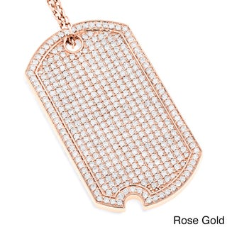Luxurman 14k Gold 5ct TDW Diamond Iced Out Designer Dog Tag Pendant (Option: Rose)