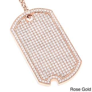 Luxurman 14k Gold 5ct TDW Diamond Iced Out Designer Dog Tag Pendant (G-H, VS1-VS2)