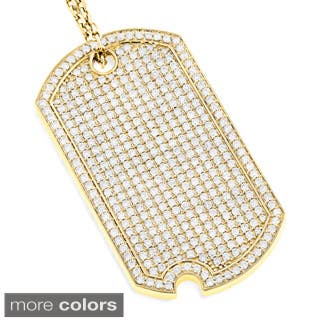 Luxurman 14k Gold 5ct TDW Diamond Iced Out Designer Dog Tag Pendant|https://ak1.ostkcdn.com/images/products/10430826/P17528809.jpg?impolicy=medium