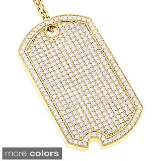 Luxurman 14k Gold 5ct TDW Diamond Iced Out Designer Dog Tag Pendant (3 options available)