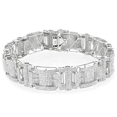 Luxurman Sterling Silver Men's 7 1/2ct TDW Diamond Bracelet