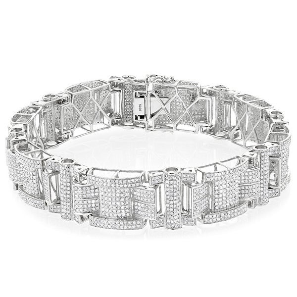 Shop Luxurman Sterling Silver Men S 7 1 2ct Tdw Diamond Bracelet