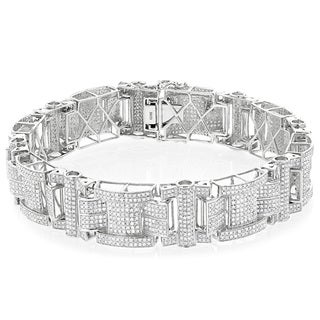 Luxurman Sterling Silver Men's 7 1/2ct TDW Diamond Bracelet