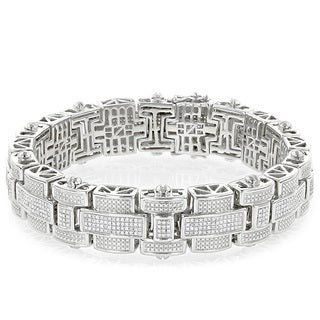 Luxurman Sterling Silver Men's 3 1/4ct TDW Diamond Bracelet (H-I, SI1-SI2)