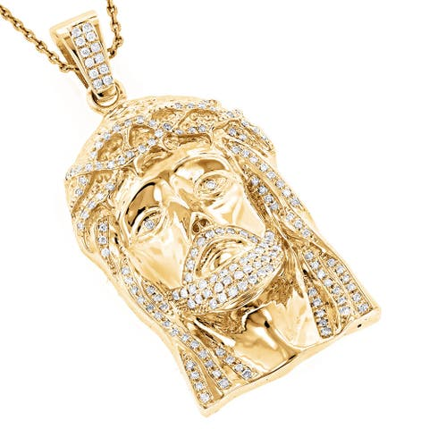 Luxurman 14k Gold 1 4/5ct TDW Round Diamond 'Jesus' Pendant