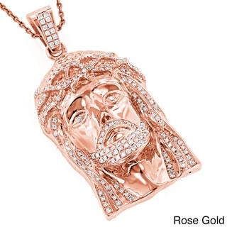 Luxurman 14k Gold 1 4/5ct TDW Round Diamond 'Jesus' Pendant (H-I, SI1-SI2)