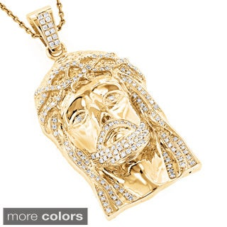 Luxurman 14k Gold 1 4/5ct TDW Round Diamond 'Jesus' Pendant (H-I, SI1-SI2)