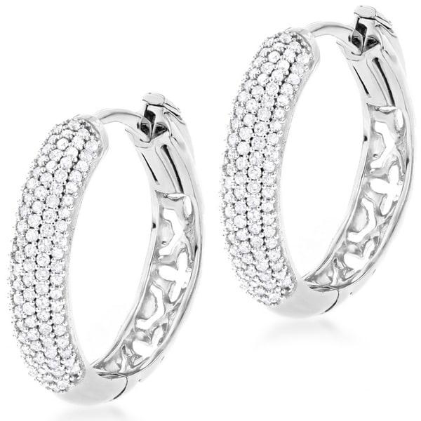 Luxurman 14k Gold 1/2ct TDW Diamond Hoop Earrings