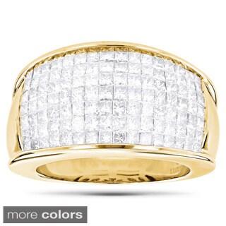 Luxurman 14k Gold 3 1/6ct TDW Princess-cut Invisible-set Diamond Ring