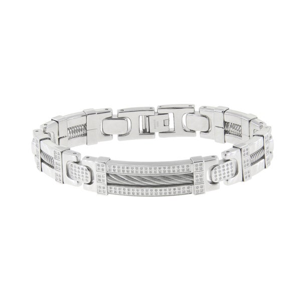 Stainless Steel 1/2ct TDW Diamond Cable Bracele