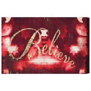Oliver Gal 'Believe' Typography and Quotes Wall Art Canvas Print - Red, Gold