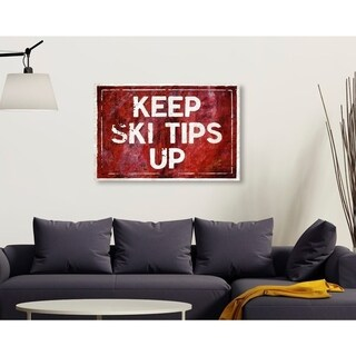 Oliver Gal 'SKI Tips Up' Typography and Quotes Wall Art Canvas Print - Red, White