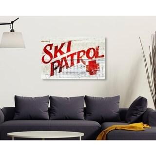 Oliver Gal 'Ski Patrol Vintage' Advertising Wall Art Canvas Print - Red, White