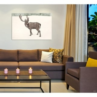 Oliver Gal 'Lone Reindeer' Animals Wall Art Canvas Print - Brown, White