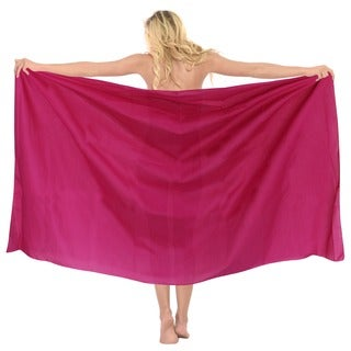 La Leela 100-percent Cotton MATCH UP With SWIMSUIT Plain Basic Color Sarong US 2X Pink