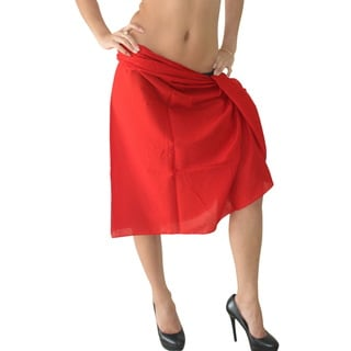 La Leela 100-percent Cotton MATCH UP With SWIMSUIT Plain Basic Sarong US 2X Red