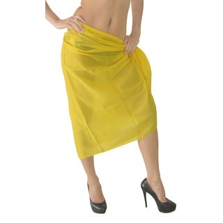 La Leela 100-percent Cotton MATCH UP With SWIMSUIT Plain Basic Sarong US 2X Yellow