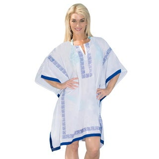 La Leela Gentle Soft Rayon Casual Beach Cover up Bikini Kaftan Swimwear Blue