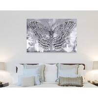 Oliver Gal 'Silver Winged Butterfly' Wild Animals Wall Art Canvas Print