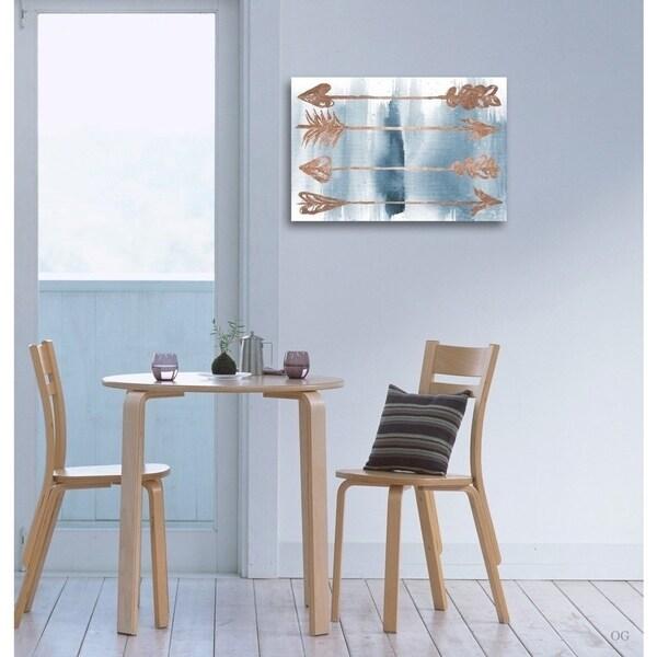 Oliver Gal 'Arrows Rose Gold' Bohemian Wall Art Canvas Print - Blue