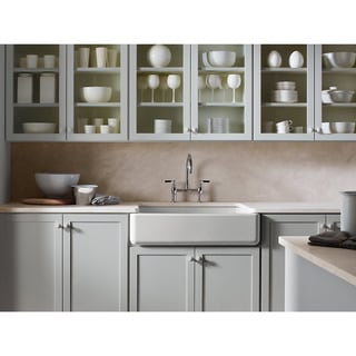 Kohler Whitehaven Undermount Cast Iron 35.6875 inch 0-Hole Single Bowl Kitchen Sink in Almond