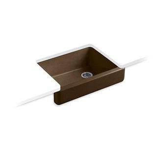 Kohler Whitehaven Undermount Cast Iron 29-1/2 in. 0-Hole Single Bowl Kitchen Sink in Black n' Tan