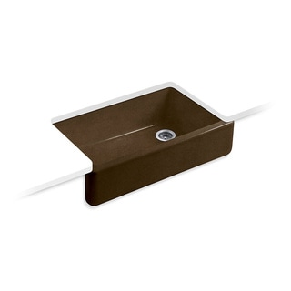 Kohler Whitehaven Undermount Cast Iron 35.6875 in. 0-Hole Single Bowl Kitchen Sink in Black n' Tan