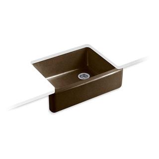 Kohler Whitehaven Undermount Cast Iron 29.6875 0-Hole Single Bowl Kitchen Sink in Black n' Tan