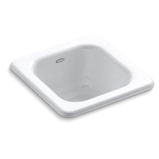 Kohler Addison Self-Rimming Cast Iron 13x13x6.625 0-Hole Single Bowl Entertainment Sink in White