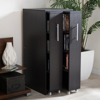 Link to Baxton Studio Lindo Dark Brown Wood Bookcase with Two Pulled-out Doors Shelving Cabinet Similar Items in Horizontal Shelves