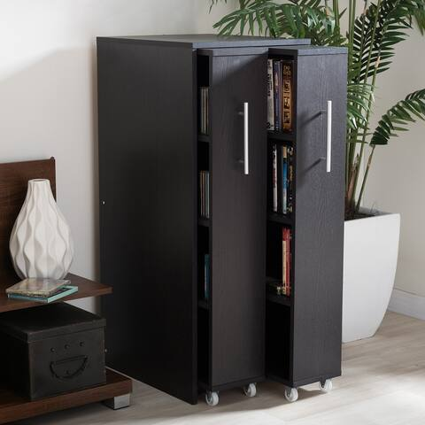 Baxton Studio Lindo Dark Brown Wood Bookcase with Two Pulled-out Doors Shelving Cabinet
