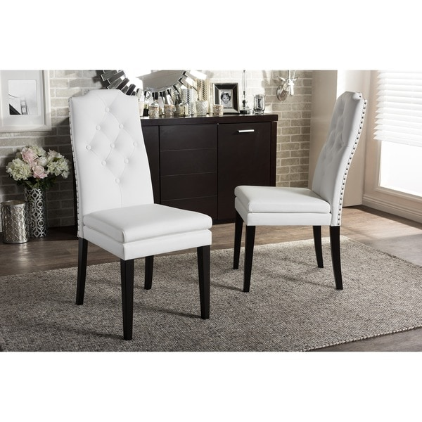 Baxton Studio Dylin Contemporary White Faux Leather With Button Tufted Nail  Heads Trim Dining Chair
