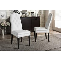 Baxton Studio Dylin Contemporary White Faux Leather with Button-tufted Nail Heads Trim Dining Chair (Set of 2)