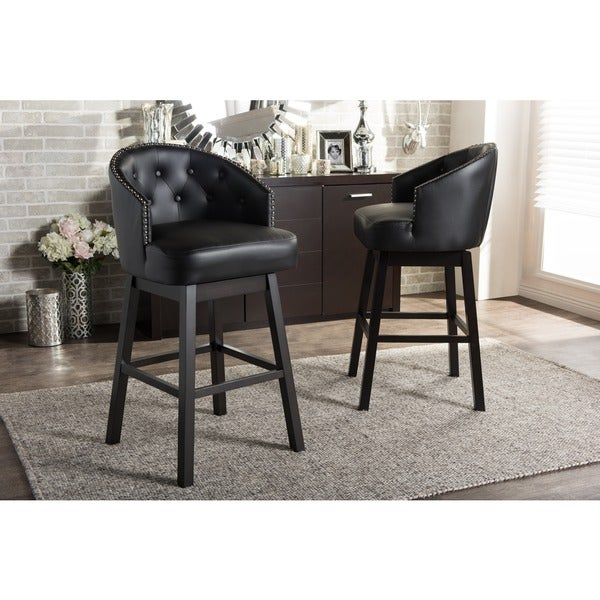 Traditional Black Faux Leather Bar Stool By Baxton Studio