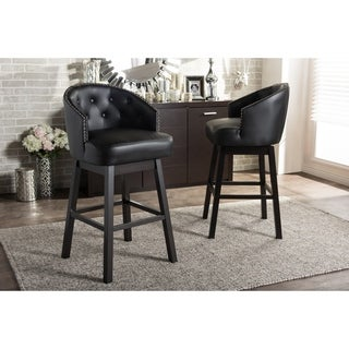 Baxton Studio Avril Contemporary Black Faux Leather Tufted Swivel Barstool with Nail Heads Trim (Set of 2)