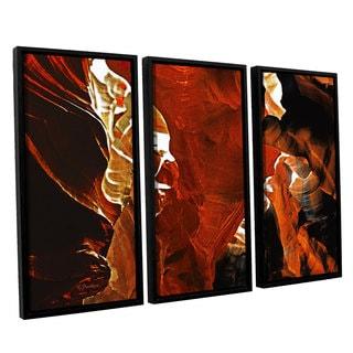 ArtWall Linda Parker 'Slot Canyon Light From Above 6' 3 Piece Floater Framed Canvas Set