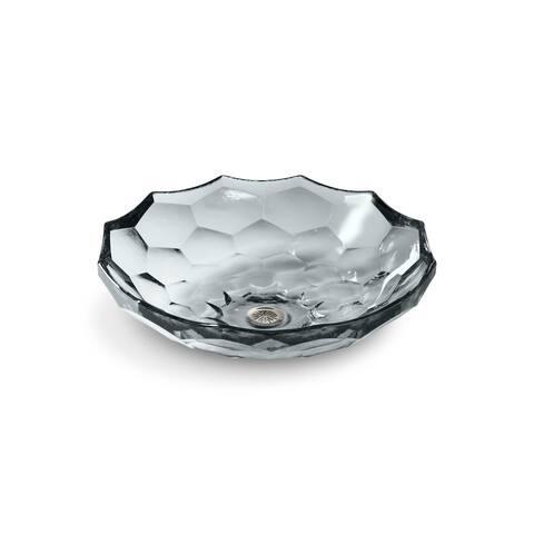 Briolette Ice Vessel Faceted Glass Bathroom Sink