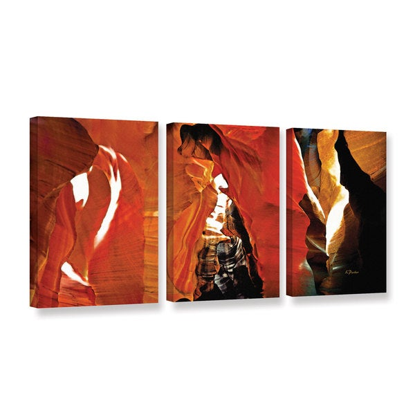 ArtWall Linda Parker 'Slot Canyon Light From Above 5' 3 Piece Gallery-wrapped Canvas Set
