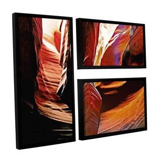 ArtWall Linda Parker 'Slot Canyon Light From Above 4' 3 Piece Floater Framed Canvas Flag Set