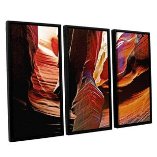 ArtWall Linda Parker 'Slot Canyon Light From Above 4' 3 Piece Floater Framed Canvas Set