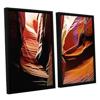 ArtWall Linda Parker 'Slot Canyon Light From Above 4' 2 Piece Floater Framed Canvas Set