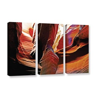 ArtWall Linda Parker 'Slot Canyon Light From Above 4' 3 Piece Gallery-wrapped Canvas Set