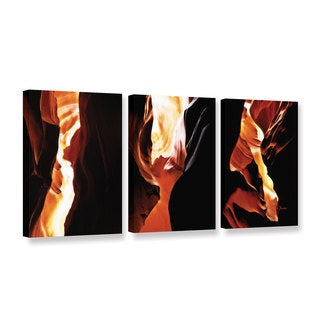 ArtWall Linda Parker 'Slot Canyon Light From Above 3' 3 Piece Gallery-wrapped Canvas Set