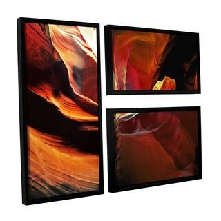 ArtWall Linda Parker 'Slot Canyon Light From Above 2' 3 Piece Floater Framed Canvas Flag Set