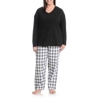 La Cera Women's Plus Size Plaid Pant Pajama Set